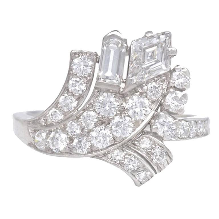 Art Deco Diamond Platinum Spray Design Ring