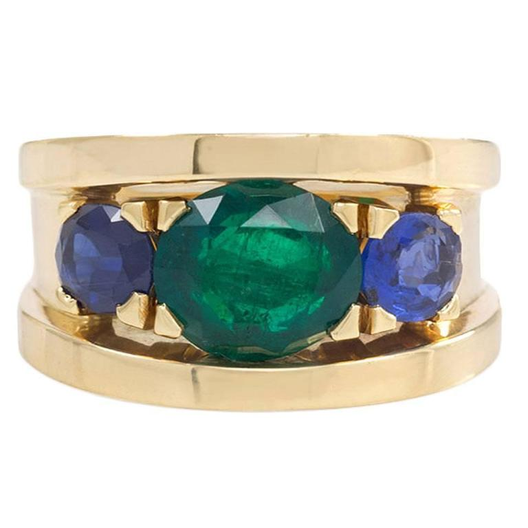 sapphire emerald gold band ring at 1stdibs