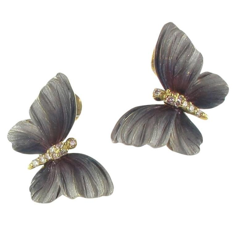Art Nouveau Style Enamel Diamond Gold Butterfly Stud Earrings  For Sale