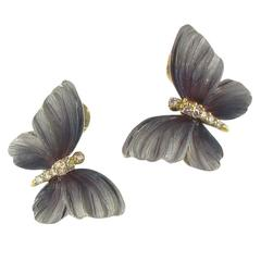 Art Nouveau Style Enamel Diamond Gold Butterfly Stud Earrings