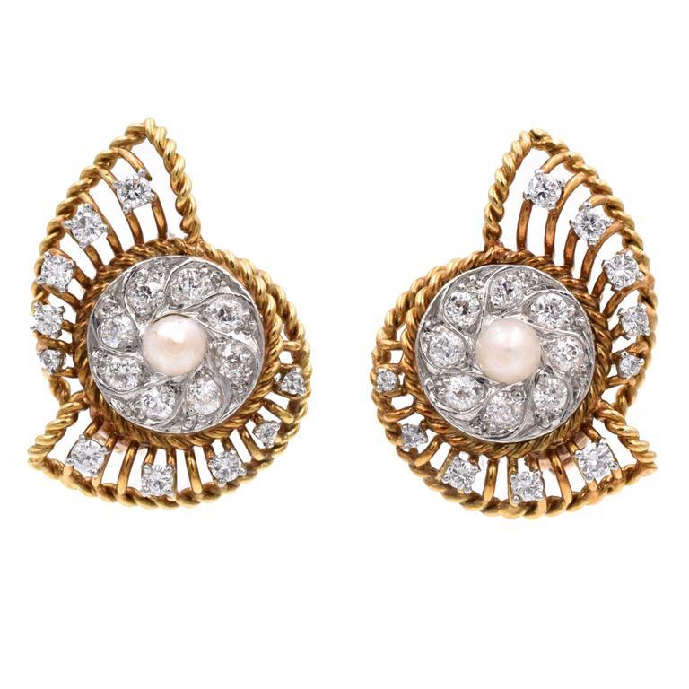 Vintage Cartier Diamond Gold Earclips