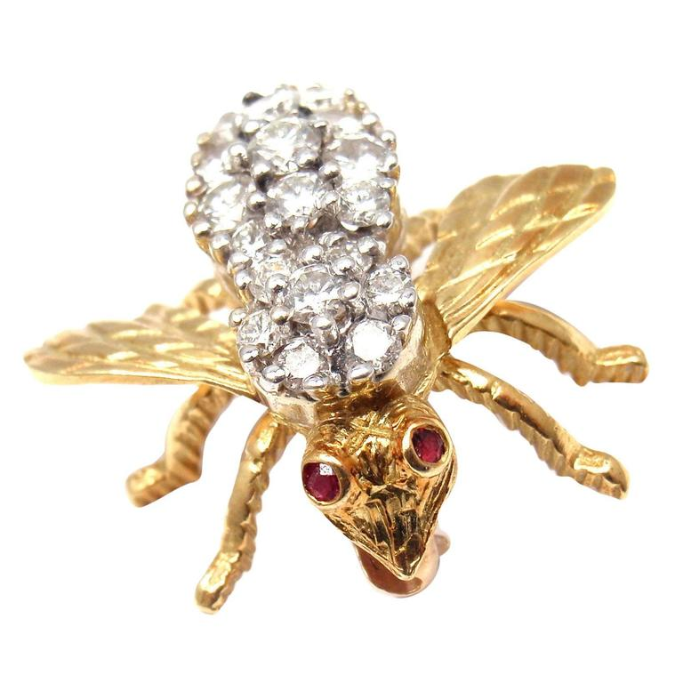 Herbert Rosenthal Diamond Gold Bee Pin Brooch