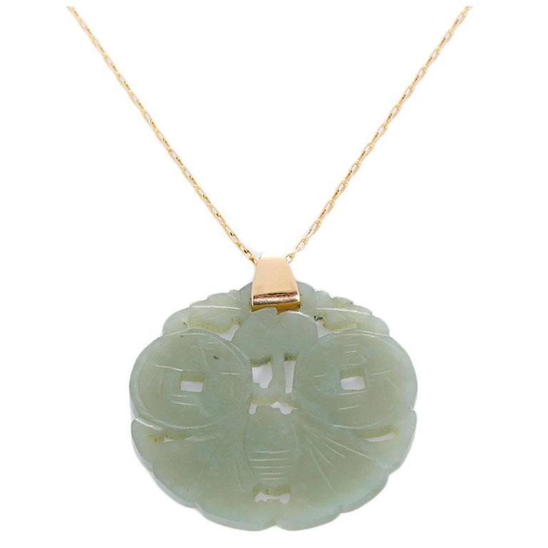 Beautiful Jade Gold Pendant Necklace