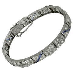 1930s Art Deco Blue Sapphire Diamond Platinum Bracelet