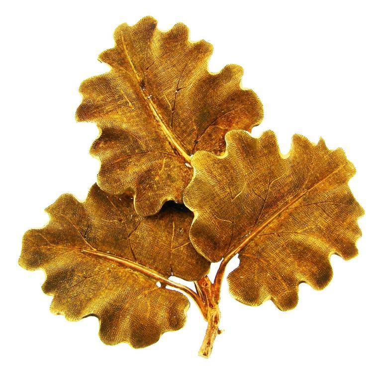 1950s Mario Buccellati Gold Oak Leaves Clip Pin Brooch For Sale