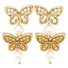 Van Cleef & Arpels Sapphire Diamond Gold Butterfly Earrings