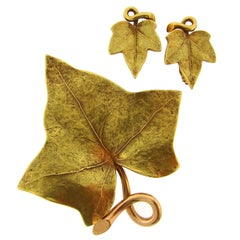 1950s Cartier Gold Grape Leaf Earrings and Clip Brooch Pin Set