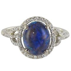 Modern Black Opal Diamond Gold Ring