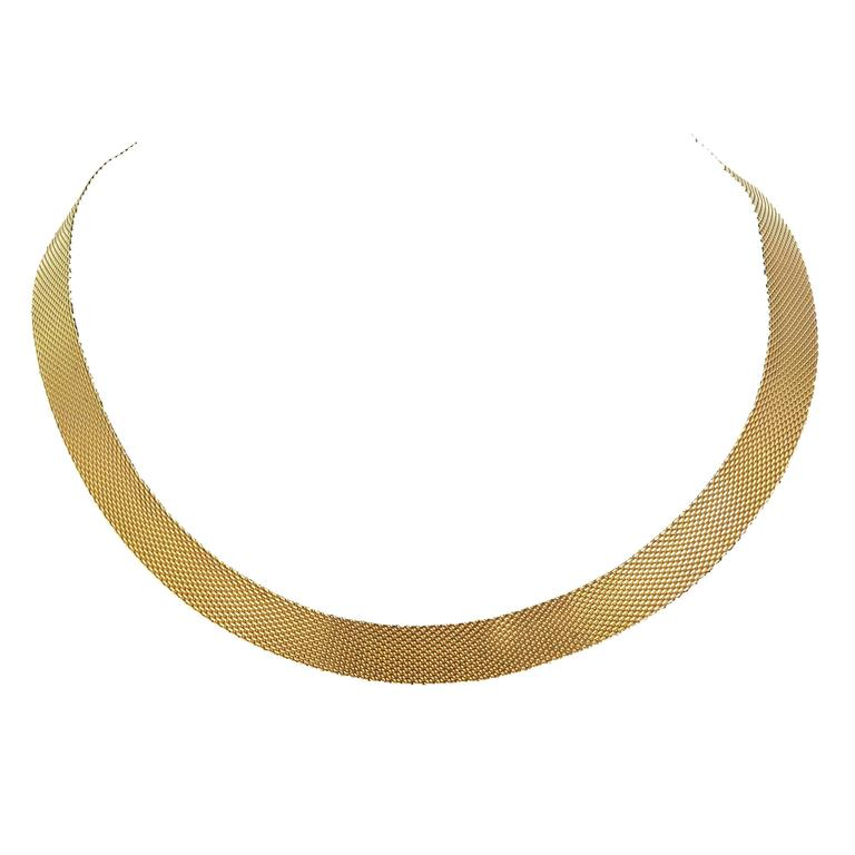 1960s Flat Yellow Gold Necklace