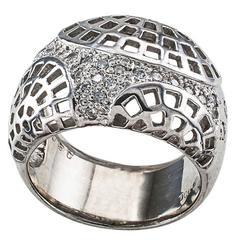 Futuristic Diamond Platinum Wide Band Ring