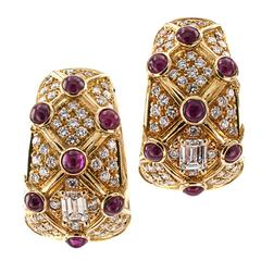 Ruby Diamond Gold Clip-On Hoop Earrings