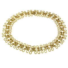 1960s Handwoven Gold Necklace