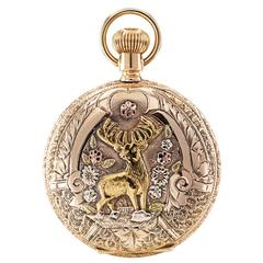 Waltham Tricolor Gold Elk Covered Case Pocket Watch