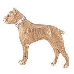 1920s Diamond Gold Boxer Dog Brooch