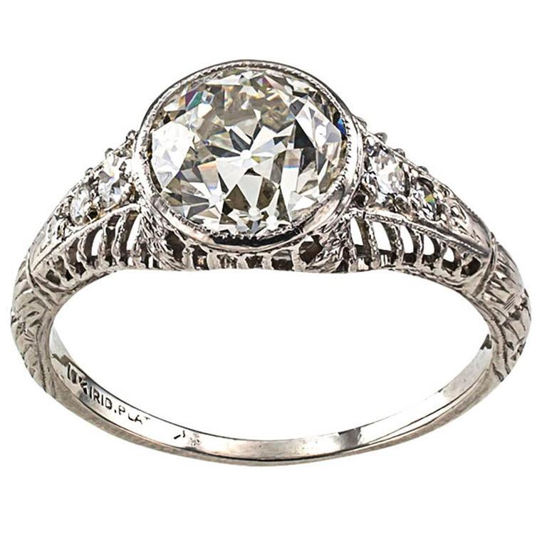 Edwardian 1.84 Carat Diamond Platinum Engagement Ring