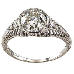 Edwardian 1.84 Carat Diamond Platinum Engagement Ring