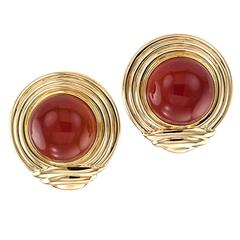 Carnelian Gold Large Ear Clips