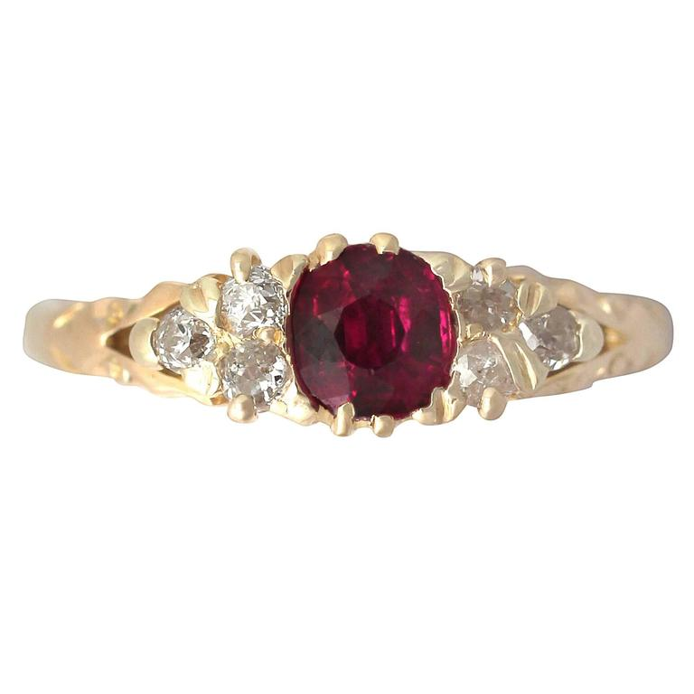 4cf82eba63cd 1910s Antique Ruby and Diamond Yellow Gold Cocktail Ring For Sale at ...