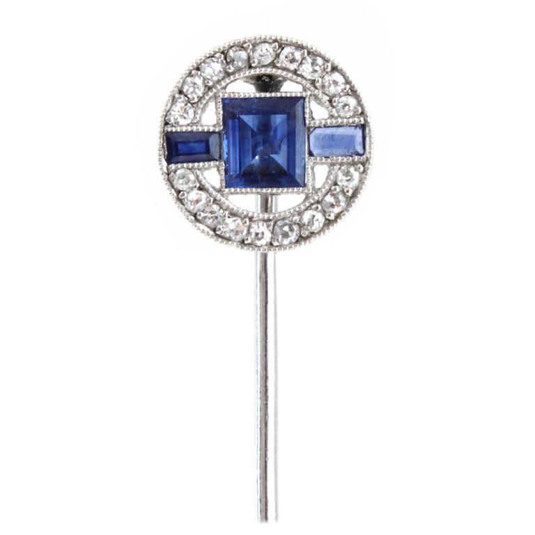 1930s French Art Deco Sapphire Diamond Platinum Stick Pin