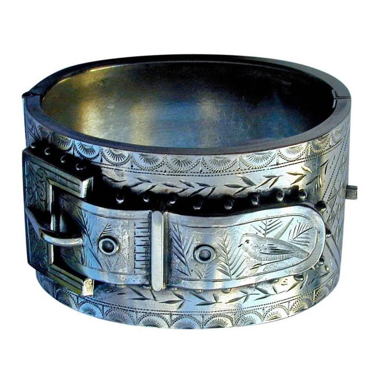 Antique Victorian Sterling Silver Cuff Bracelet For