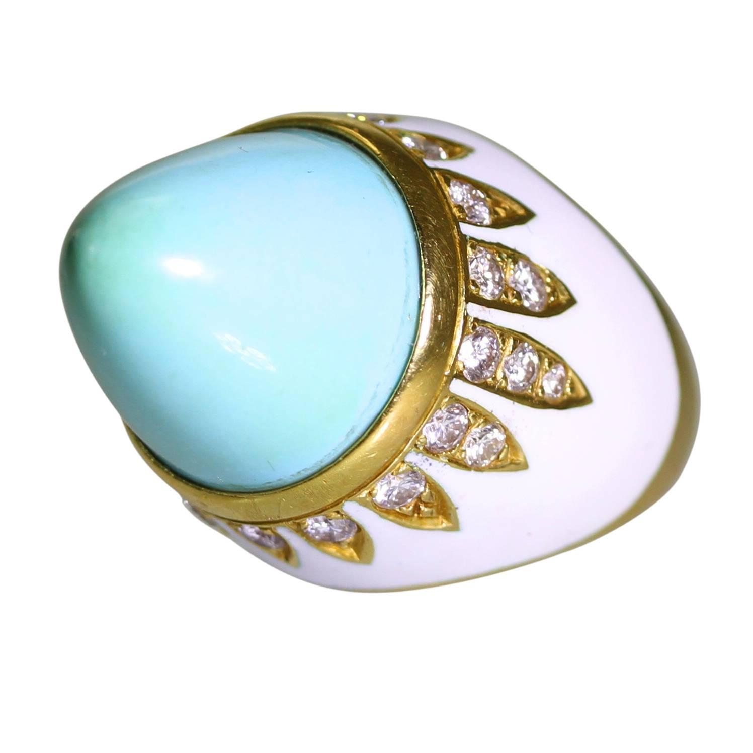 1970s enamel turquoise gold ring at 1stdibs