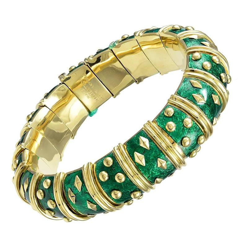Tiffany & Co. Schlumberger Classic Enamel Gold Bangle Bracelet