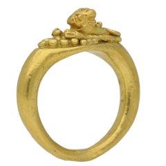 Romano-Egyptian 1st Century BC Leonine Gold Ring