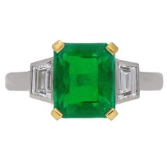 1930s Art Deco Natural Colombian Emerald Diamond Gold Platinum Ring