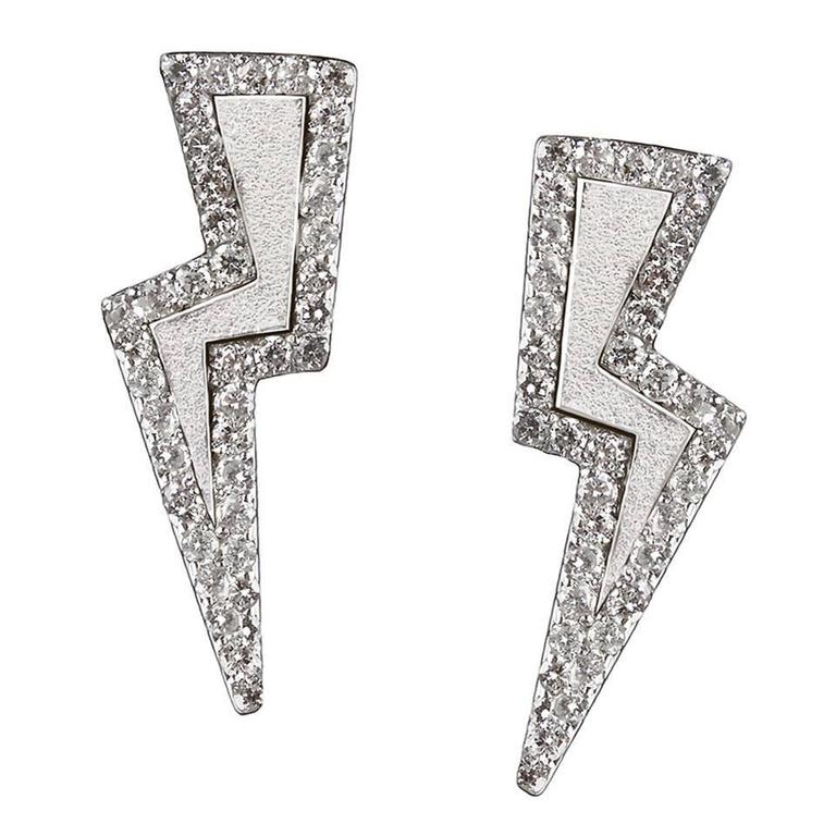 TPL Silver Diamond Lightning Bolt Earrings For Sale