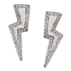 TPL Silver Diamond Lightning Bolt Earrings