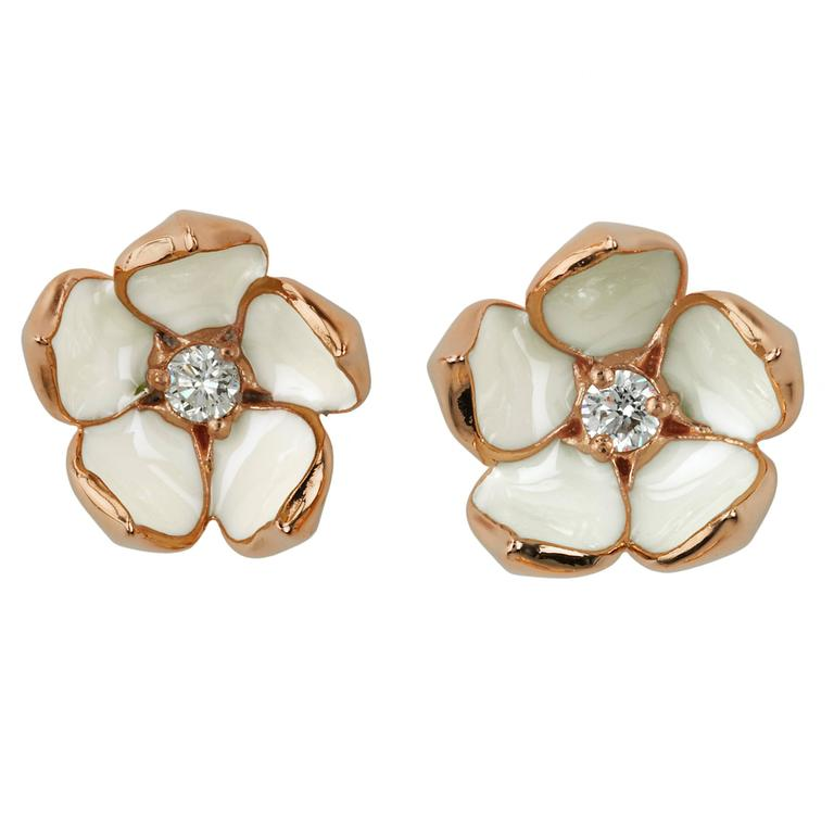Shaun Leane Diamond Silver Gold Vermeil Cherry Blossom Stud Earrings For Sale