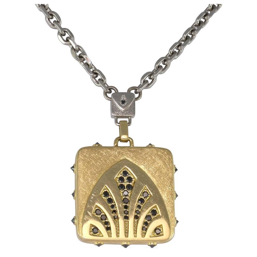Black Diamond Gold Palladium Art Deco Motif Necklace at ...