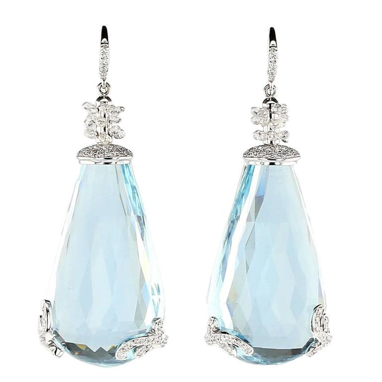 Aquamarine Diamond Gold Earrings For Sale