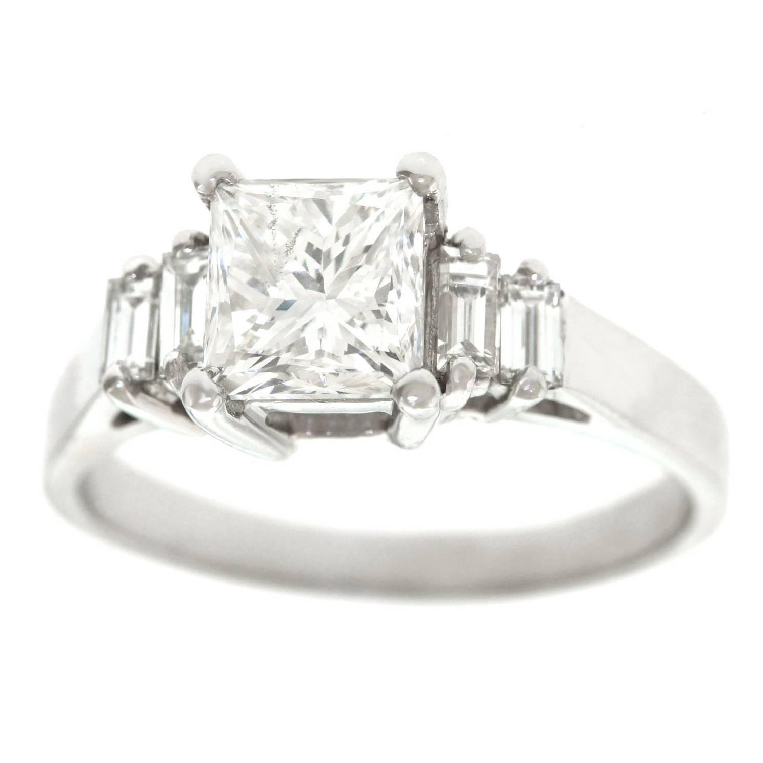 i cut ring engagement certified diamond carat in tw princess sidestones dbb rings palladium si gia cathedral jewellery
