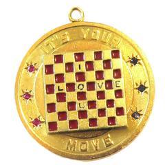 "Large ""Its Your Move""/""I Love U"" Enamel Checkerboard Gemstone Gold Charm Pendant"