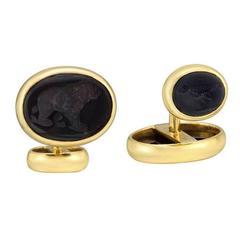 Elizabeth Locke Black Intaglio Gold Cufflinks