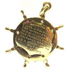 Nautical Presentation Enamel Gemstone Gold Pendant Charm Dated Jan 10 1919