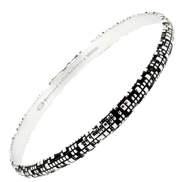 Blockchain Bitcoin Torus Silver Bangle Bracelet