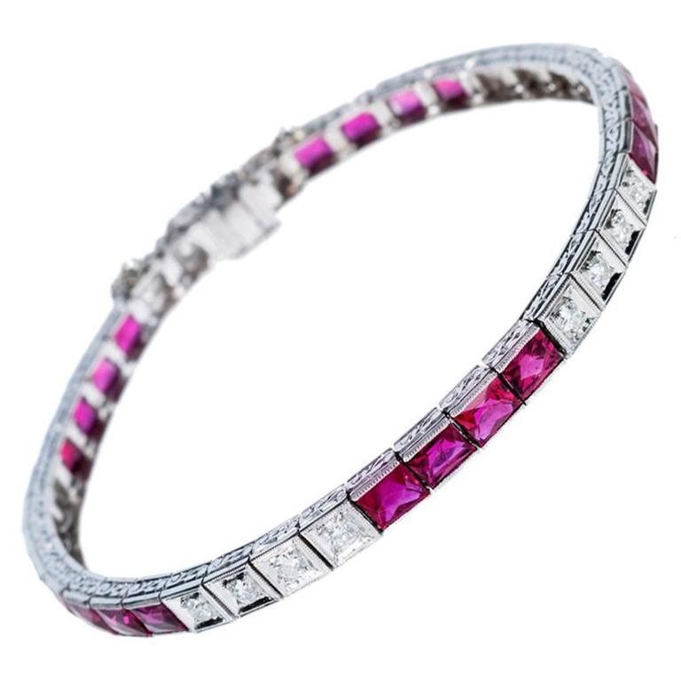 Ruby Diamond Platinum Tennis Bracelet