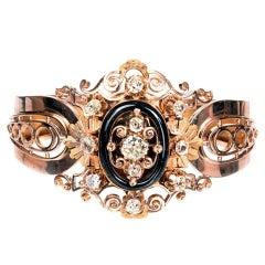 French Onyx Diamond Gold Bangle Bracelet