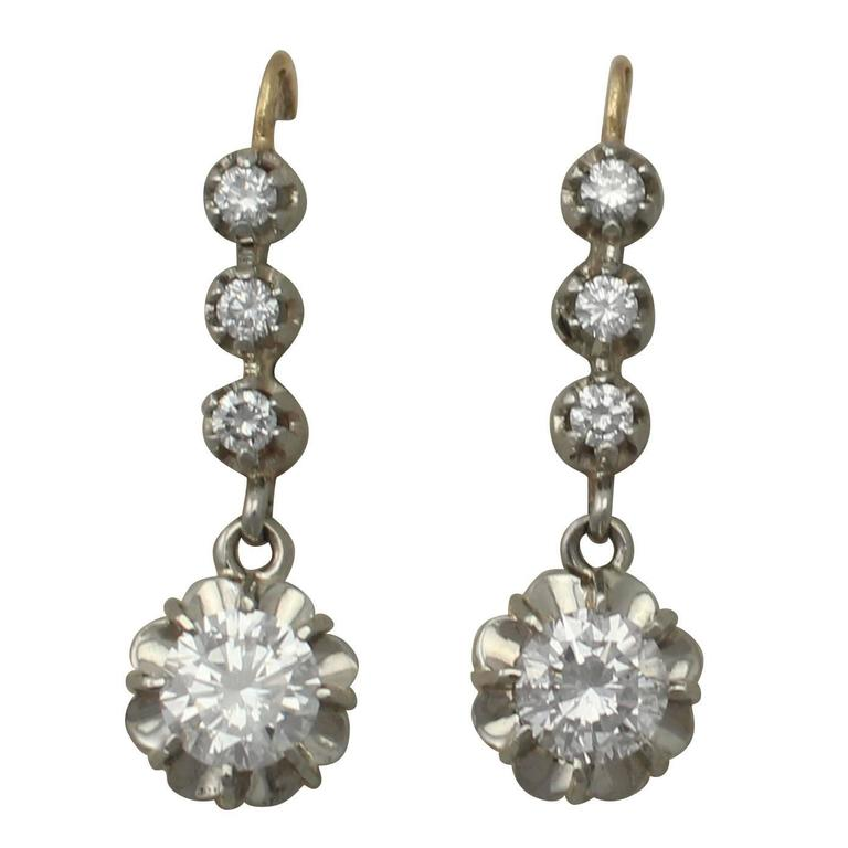 Antique French 1.54 Carats Diamonds Gold Drop Earrings