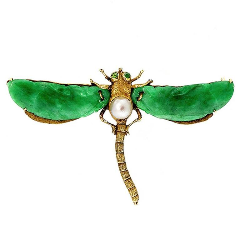 Natural Jadeite Jade Akoya Pearl Garnet Gold Dragonfly Pin 1
