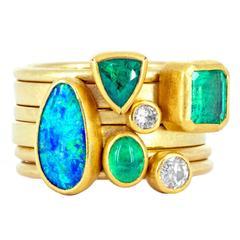 Petra Class Emerald Opal Diamond Gold Handmade Stacking Rings