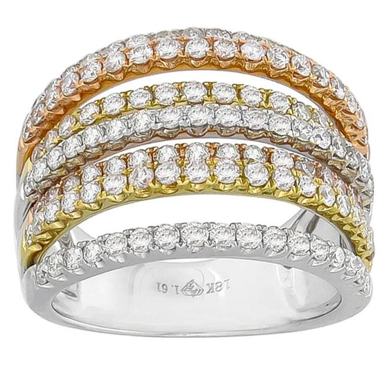 Round Cut Diamond Three Color Gold Ring