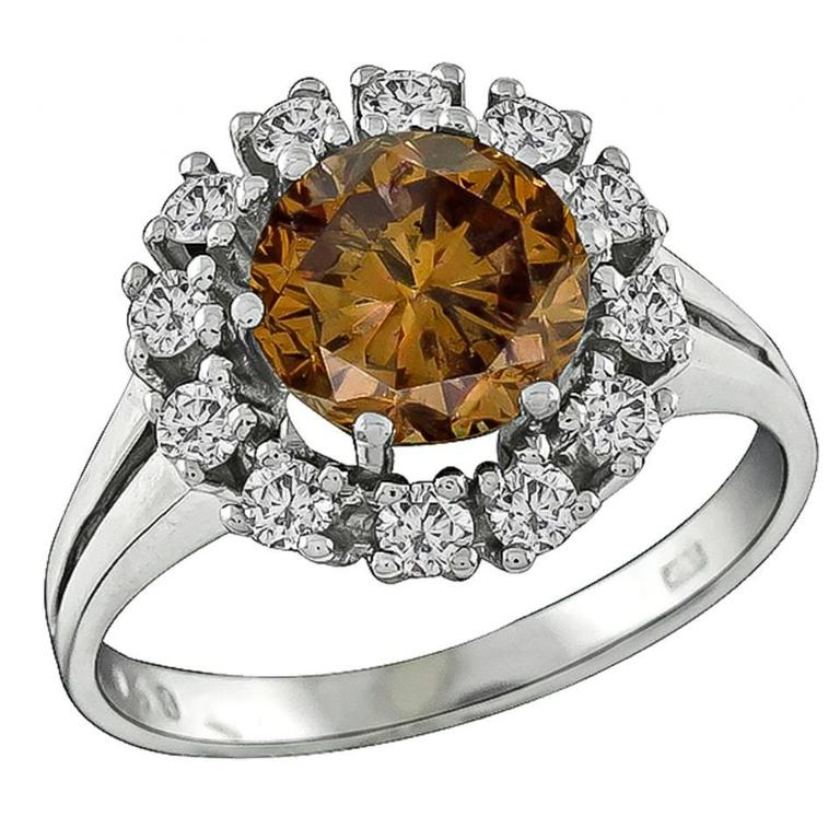 2.20 Carat Natural Fancy Colored Diamond  Cluster Ring 1