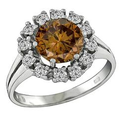 2.20 Carat Natural Fancy Colored Diamond  Cluster Ring