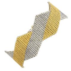 1970s Italian Two Color Woven Gold Bracelet