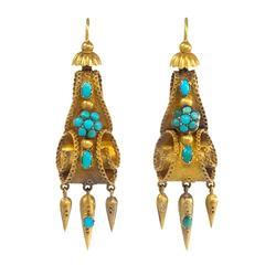Early Victorian Turquoise Gold Earrings
