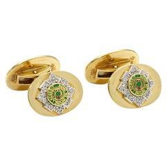 Scots Guards Enamel Diamond Gold Cufflinks