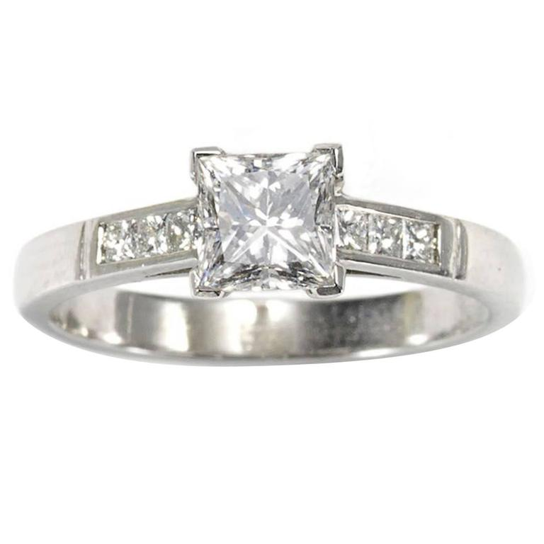 0.84 Carats GIA Cert Princess-Cut Diamond Platinum Ring